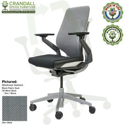 Crandall Office Furniture Remanufactured Steelcase Gesture Chair - 3D Mesh Zinc/Black Fabric