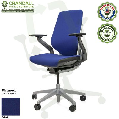 Crandall Office Furniture Remanufactured Steelcase Gesture Chair - Guilford of Maine Open House Cobalt Fabric