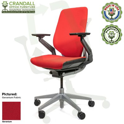 Crandall Office Furniture Remanufactured Steelcase Gesture Chair - Guilford of Maine Open House Geranium Fabric