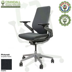 Crandall Office Furniture Remanufactured Steelcase Gesture Chair - Guilford of Maine Open House Graphite Fabric