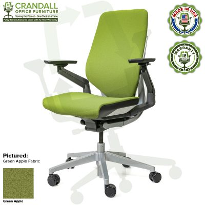 Crandall Office Furniture Remanufactured Steelcase Gesture Chair - Guilford of Maine Open House Green Apple Fabric