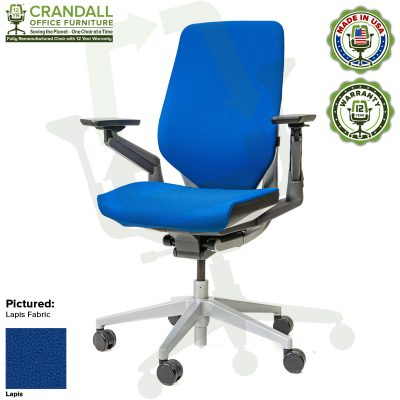 Crandall Office Furniture Remanufactured Steelcase Gesture Chair - Guilford of Maine Open House Lapis Fabric