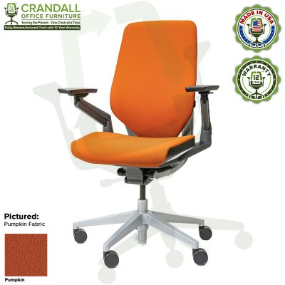 Crandall Office Furniture Remanufactured Steelcase Gesture Chair - Guilford of Maine Open House Pupmkin Fabric