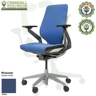 Crandall Office Furniture Remanufactured Steelcase Gesture Chair - Guilford of Maine Open House Thistle Fabric
