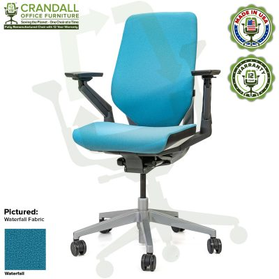 Crandall Office Furniture Remanufactured Steelcase Gesture Chair - Guilford of Maine Open House Waterfall Fabric