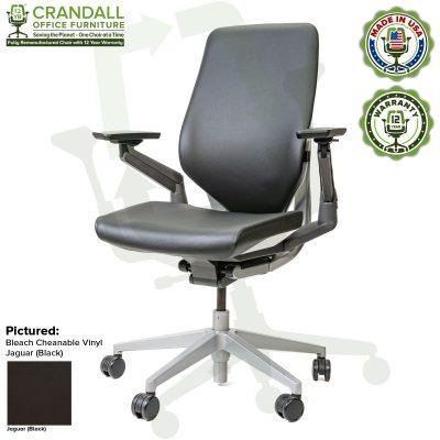 Crandall Office Furniture Remanufactured Steelcase Gesture Chair - Bleach Cleanable Black Vinyl