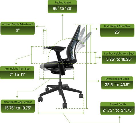 Steelcase V2 Leap Chair Dimensions 02