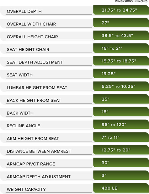 Steelcase V2 Leap Chair Dimensions 03