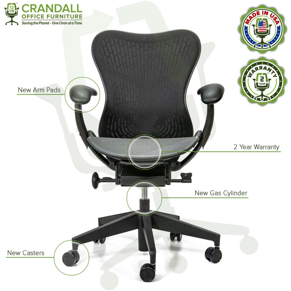 Crandall Office Refurbished Herman Miller Mirra 2 Office Chair with 2 Year Warranty - Labels