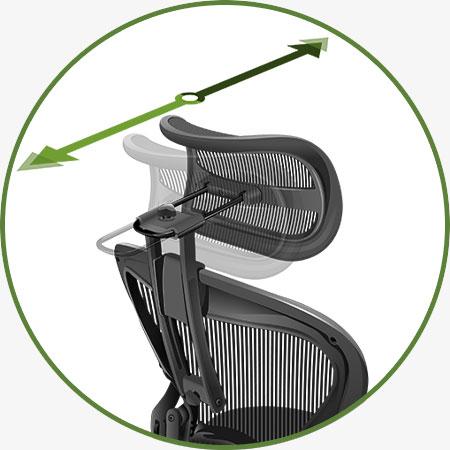 Atlas Suspension Headrest for Herman Miller Aeron Classic Chair - Adjustments - Headrest Depth