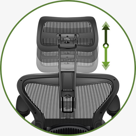 Atlas Suspension Headrest for Herman Miller Aeron Classic Chair - Adjustments - Headrest Height