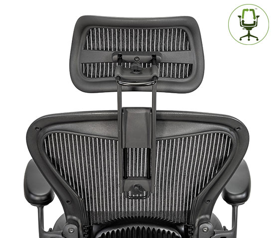 Atlas Suspension Headrest for Herman Miller Aeron Classic Chair - Back View