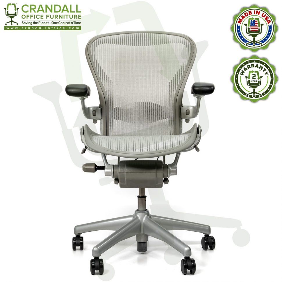 Crandall Office Refurbished Herman Miller Aeron Chair Smoke/Zinc - Size B - 0001