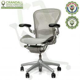 Crandall Office Refurbished Herman Miller Aeron Chair Smoke/Zinc - Size B - 0002
