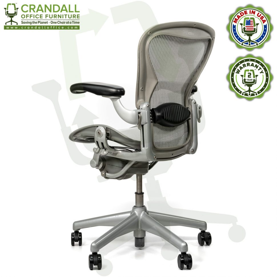 Crandall Office Refurbished Herman Miller Aeron Chair Smoke/Zinc - Size B - 0004