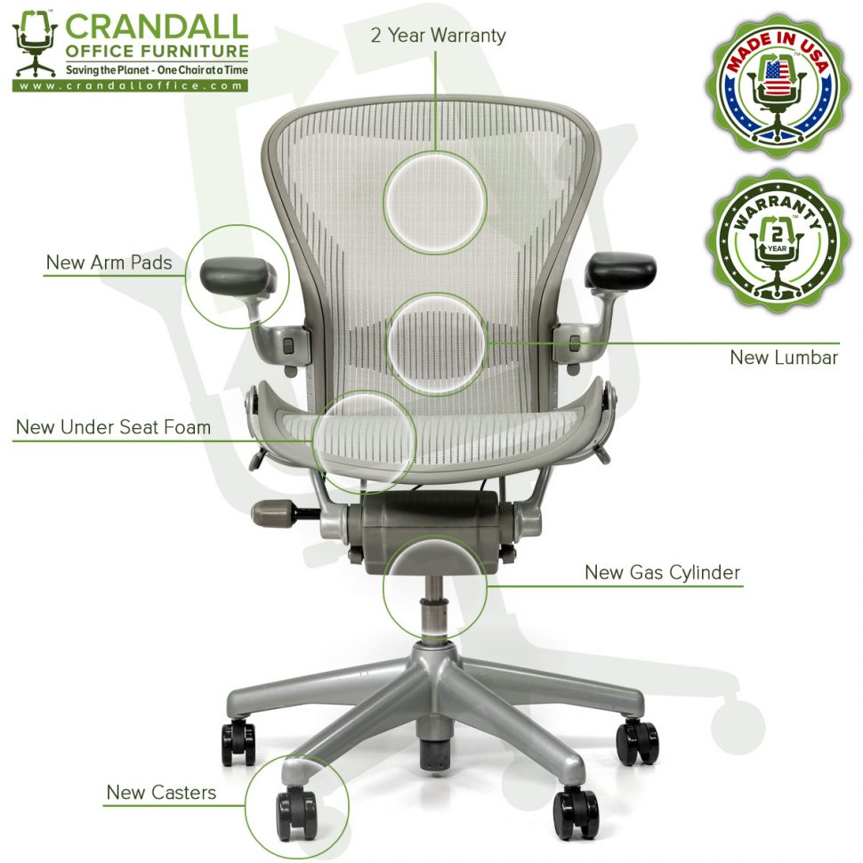 Crandall Office Refurbished Herman Miller Aeron Chair Smoke/Zinc - Size B - Labels