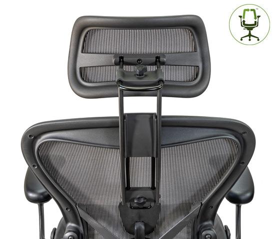Atlas Suspension Headrest for Herman Miller Aeron Remastered Chair Back View