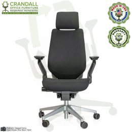 Crandall Remanufactured Steelcase 442 Gesture Chair with Headrest and Platinum / Seagull Frame 01