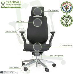 Crandall Remanufactured Steelcase 442 Gesture Chair with Headrest and Platinum / Seagull Frame 06